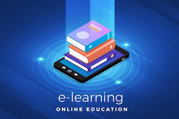 Solución de tecnología de concepto de diseño de ilustraciones isométricas en la parte superior con e-learning