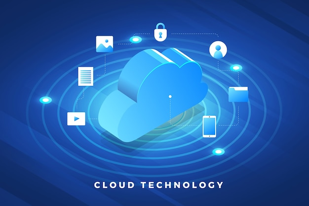 Solución de tecnología de concepto de diseño de ilustraciones isométricas en la parte superior con servicio en la nube