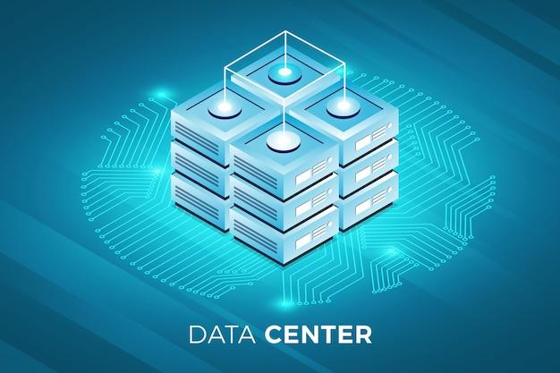 Solución de tecnología de concepto de diseño de ilustraciones isométricas en la parte superior con servidor de big data