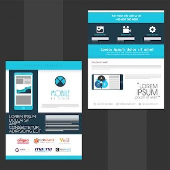 Solución web móvil folleto, diseño de plantilla con teléfonos inteligentes mostrando elementos infográficos y símbolos web, concepto de negocio.