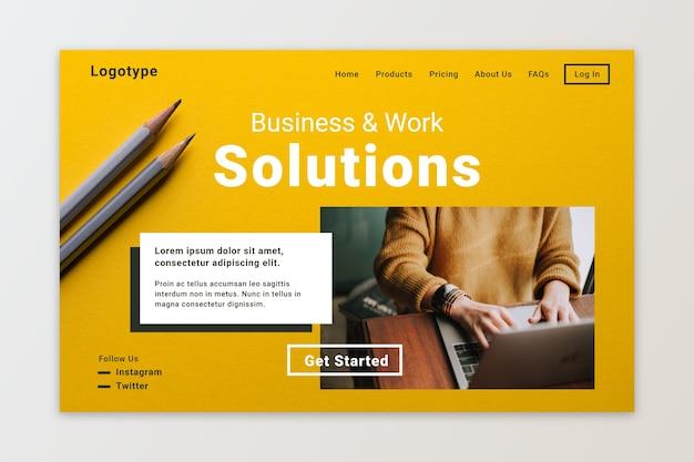 Soluciones de negocio y trabajo de página de aterrizaje