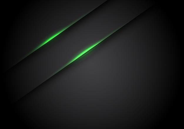 Sombra de línea de luz verde sobre fondo negro espacio en blanco.