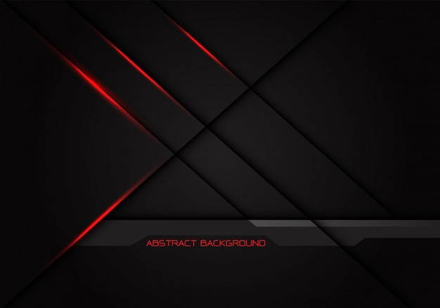 Sombra de la línea cruzada de luz roja sobre fondo gris oscuro.