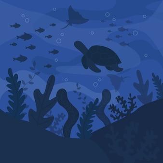Sombras de azules criaturas submarinas día del océano