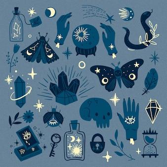 Sombras de elementos ocultos esotéricos azules
