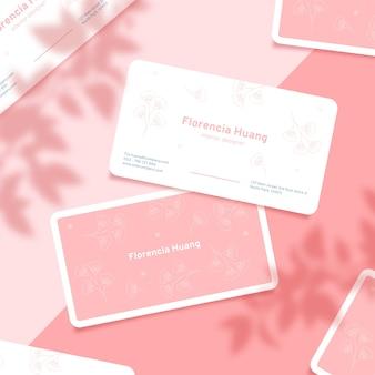 Sombras de hojas y visita tarjeta de visita