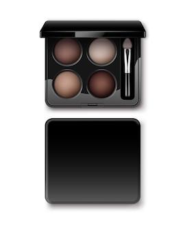Sombras de ojos redondas multicolor pastel marrón claro crema ocre en estuche de plástico rectangular negro con aplicador de pincel de maquillaje vista superior aislada