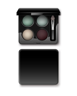 Sombras de ojos redondas multicolores pastel crema claro azul turquesa oscuro vinosas en negro estuche de plástico rectangular con aplicador de pincel de maquillaje vista superior aislada.