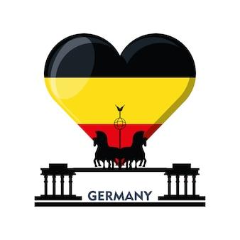 Sombrero alpino alemán y bandera de alemania en forma de corazón