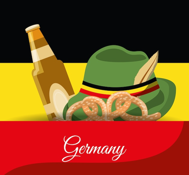 Sombrero alpino alemán con botella de cerveza