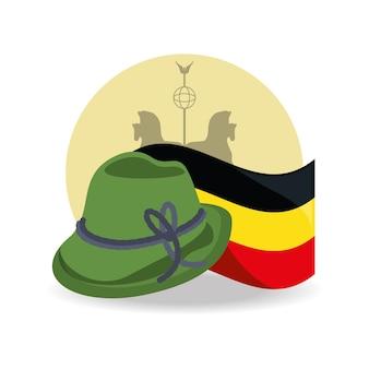 Sombrero alpino alemán e icono de bandera de alemania