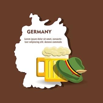 Sombrero alpino alemán y vaso de cerveza