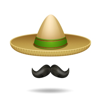 Sombrero y bigote conjunto de iconos decorativos de símbolos mexicanos
