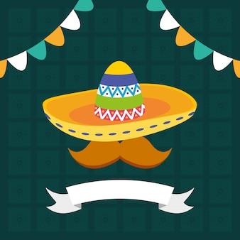 Sombrero con bigote y guirnaldas