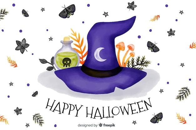 Sombrero de bruja acuarela fondo de halloween