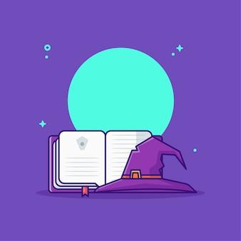 Sombrero de bruja con dibujos animados de libro