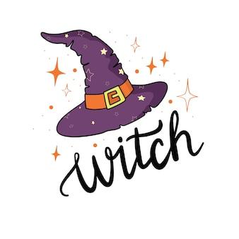 Sombrero de bruja con estrellas en dibujado a mano