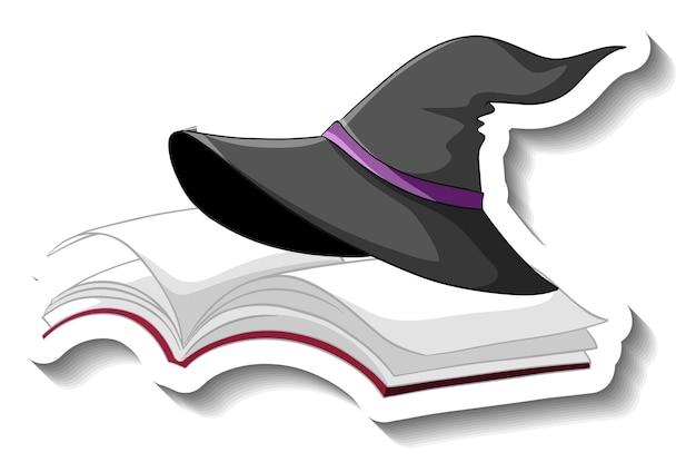 Sombrero de bruja en la etiqueta engomada de la historieta del libro sobre fondo blanco