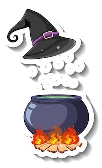 Sombrero de bruja y pote de poción sobre fondo blanco.