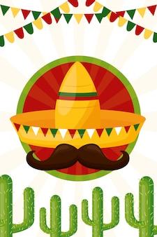 Sombrero y cactus cultura mexicana, ilustración