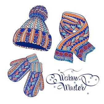 Sombrero caliente mitones bufanda doodle