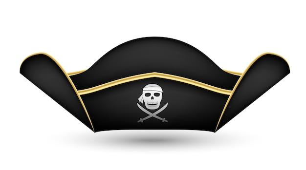 Sombrero de capitán pirata sobre un fondo blanco
