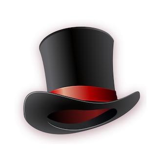 Sombrero cilíndrico negro con cinta roja. sombrero mágico.