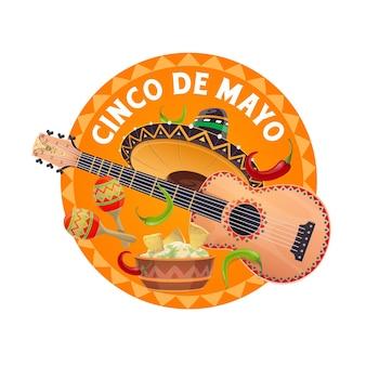 Sombrero y comida del cinco de mayo, fiesta mexicana