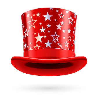 Sombrero de copa rojo con estrellas blancas sobre fondo blanco.