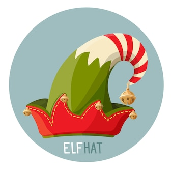 Sombrero elfo brillante con pequeñas campanas doradas.