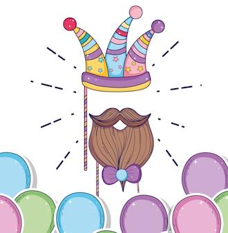 Sombrero de fiesta con barba de moda y lazo de cinta