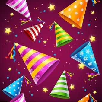 Sombrero de fiesta de patrones sin fisuras. concepto de cumpleaños