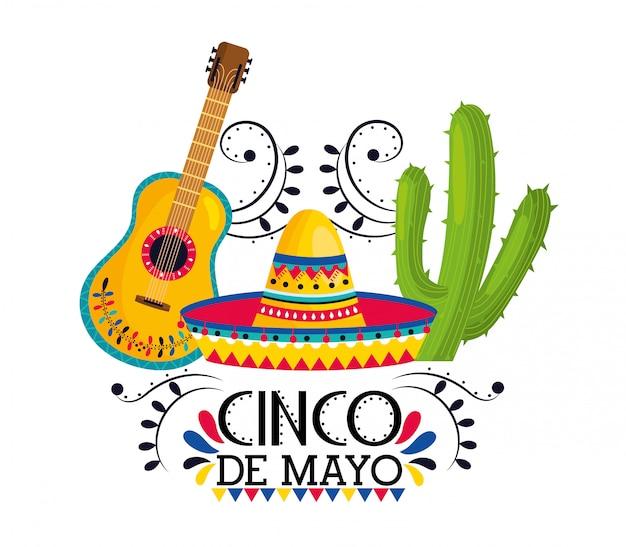 Sombrero con guitarra y plantas de cactus al evento.