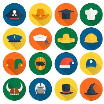 Sombrero iconos planos