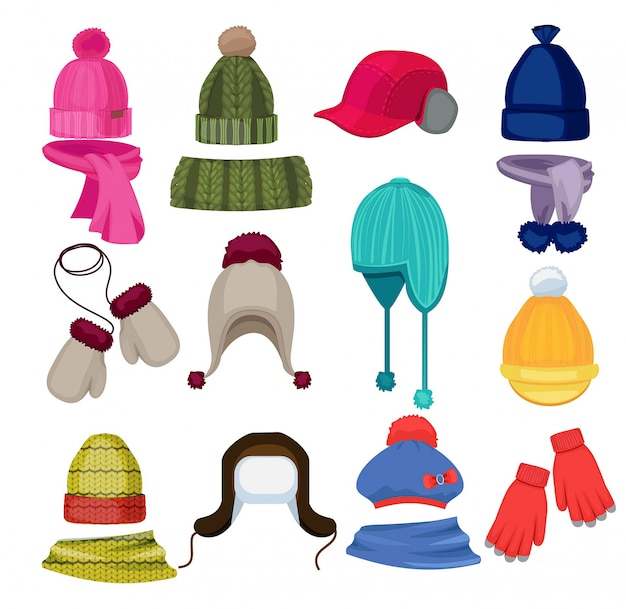 Sombrero de invierno de dibujos animados. gorros, gorros, bufandas y otros accesorios de moda en ilustraciones de estilo plano