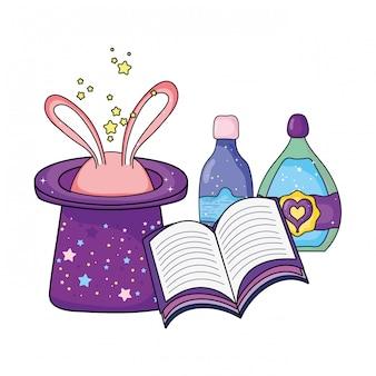 Sombrero mágico de cuento de hadas con orejas de conejo y botella de poción.