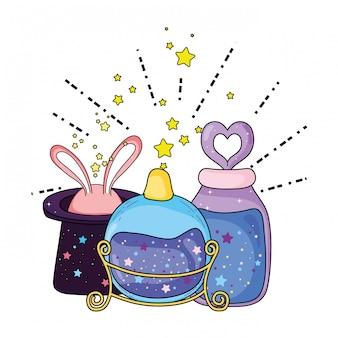 Sombrero mágico de cuento de hadas con orejas de conejo y botellas de pociones.