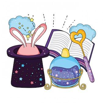Sombrero mágico de cuento de hadas con orejas de conejo y libro.