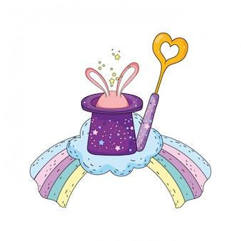Sombrero mágico de cuento de hadas con orejas de conejo y varita.