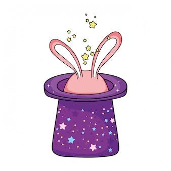 Sombrero mágico de cuento de hadas con orejas de conejo.