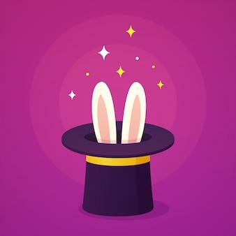 Sombrero mágico con orejas de conejo