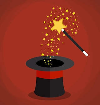 Sombrero mágico y varita con destellos, estrellas.