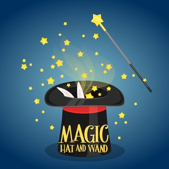 Sombrero mágico y varita con destellos