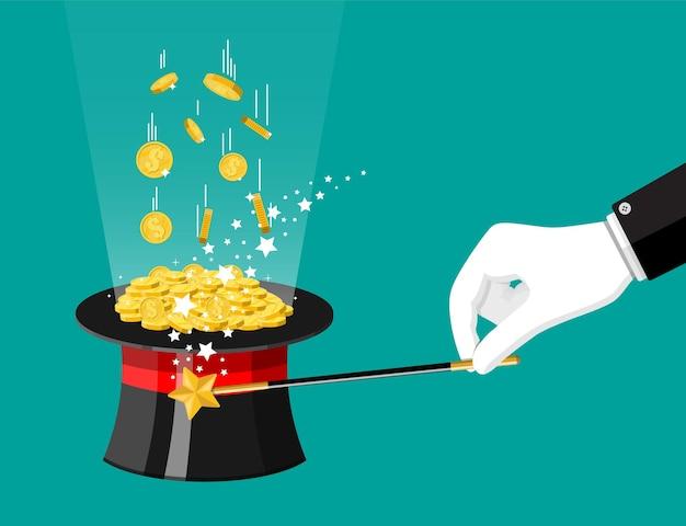 Sombrero mágico, varita mágica y monedas de oro. gorra ilusionista llena de dinero.