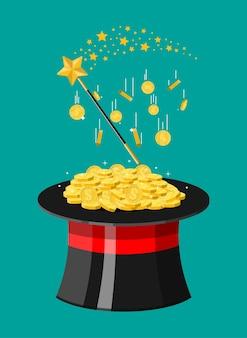 Sombrero mágico, varita y monedas de oro. gorra ilusionista llena de dinero.