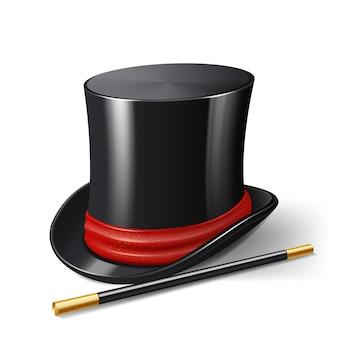 Sombrero de mago realista con palo mágico.