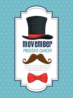 Sombrero masculino con corbata de moño y bigote