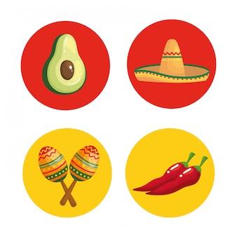 Sombrero mexicano de aguacate maracas y guindilla