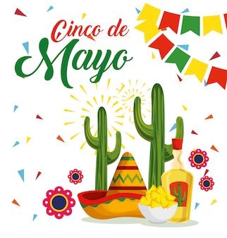 Sombrero mexicano con cactus y tequila para evento