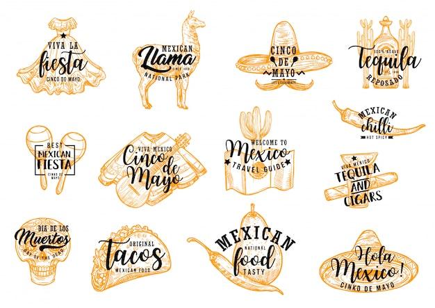 Sombrero mexicano de cinco de mayo, cactus y tequila
